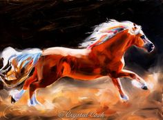 Horse Oil Painting Beautiful Palomino Running expressive impressionistic colorful wall art for horse lovers $275.00