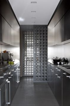 Sleek and efficient kitchen. Strong masculine feel. Beautifully designed grid doors.