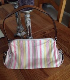 NEW!! FOSSIL, multi colored, canvas/leather Hand Bag