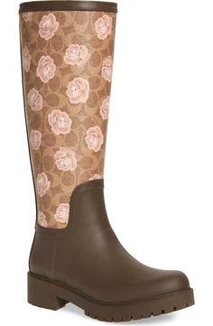 47fbe16ddb49 COACH Signature Logo   Floral Knee High Rain Boot (Women)