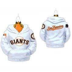 "$89.99-$109.99 Pack of 6 MLB San Francisco Giants Baseball Hoodie Glass Christmas Ornaments - Major League Baseball Christmas Ornaments Item #MB4113SFG Officially licensed merchandise  Glass ornaments each depict a San Francisco Giants white hoodie sweatshirt Fully dimensional ornaments Ornaments come ready-to-hang on silver cords  Dimensions: 4.5""H Material(s): glass  Pack includes 6 of the orn ..."