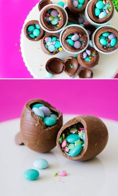 Take hollow chocolate eggs, crack 'em open, and fill with candy! #chocolates #sweet #yummy #delicious #food #chocolaterecipes #choco #chocolate