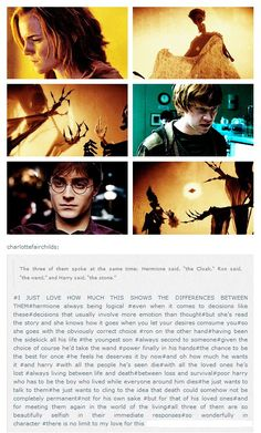 Why each member of the Trio's choice of Deathly Hallow is important to their characterization.