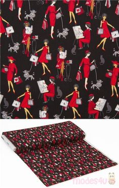 black cotton fabric with retro fashion women dressed in red, painting, reading, walking a dog etc., very high quality fabric, typical great Timeless Treasures quality #Cotton #People #USAFabrics