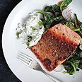 Pan-Roasted Salmon with Collards and Radish Raita|epicurious - this sounds good and not too difficult to make