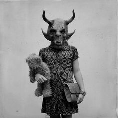 This kid is going to school in a Krampus mask! Gory, Krampus, Monster, Occult, Bizarre, Creepy, Art, Dark Art, Vintage Halloween