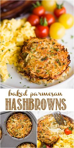 Baked Parmesan Hashbrowns, baked to golden brown perfection and made with freshl. - Baked Parmesan Hashbrowns, baked to golden brown perfection and made with freshly grated potatoes. Shredded Hashbrown Recipes, Frozen Hashbrown Recipes, Brunch Recipes, Breakfast Recipes, Breakfast Potatoes Easy, Breakfast Cups, Breakfast Ideas, Fresh Potato, Recipes