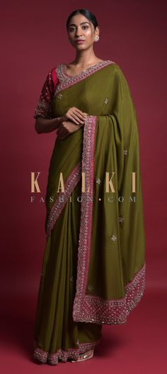 Pickle Green Saree In Cotton Silk With Embroidered Buttis And Contrasting Pink Blouse Online - Kalki Fashion Green Saree, Wedding Sarees, Blouse Online, Cotton Silk, Pickle, Silk Sarees, Festive, Designers, Sari