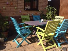 Finally got around to painting our garden furniture. It's cuprinol lavender, beach blue and sunny lime. Love it! Now just need some cushions to add some comfort to it.