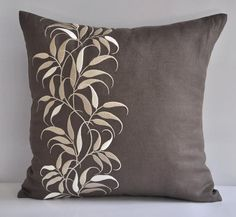 Taupe Beige Pillow Cover, Decorative Throw Pillow Cover, Medium Taupe Linen Beige Leaves, Embroidered,  Pillow Accent, Leaves Couch Pillow