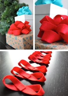 DIY felt bows - I used ribbon. I will be making all my Christmas bows this year....much cheaper and a whole lot cuter. PRESENTATION is everything (to me)