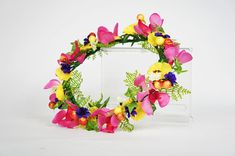 Tropical Orchid Flower Crown for Weddings, Bridal, Bridesmaid Yellow Orchid, Purple Daisy, Small White Flowers, Flower Crowns, Tropical Flowers, Color Mixing, Orchids, Floral Wreath, Hair Accessories