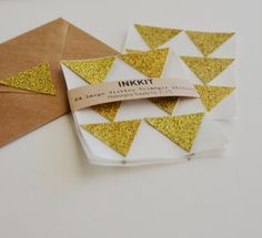 gold glitter large triangle stickers 24 stickers by inkkit
