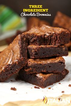3-Ingredient Brownies are moist, chewy, chocolaty and oh so fudgy. They come together in just 5 minutes. And the taste is spectacular. #Recipe from @SlowRoasted