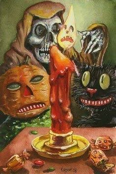 Vintage Halloween postcard detail with anthropomorphic candle, black cat, Grim Reaper, and a Pumpkinhead. Great art!
