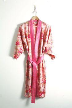 Cotton Kimono Dressing Gown Rose Floral Print