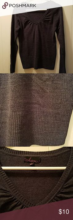 Grey ladies v-neck sweater, LG, runs SM Ladies / teen size large but tight fitting, more so a small.  Never worn.  Same / Next Day Shipping 📦 Smoke-free home 🏠  Bundle items, great savings 💲 Free sample / gift with every purchase 🎁 And thanks for stopping by to browse and hopefully shop my closet 💄💍👢👗👙🛍 Sweaters V-Necks