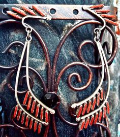 American Indian Jewelry Earrings NeedlePoint  Coral & Sterling Silver