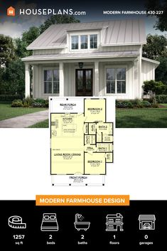 This sweet farmhouse style house plan is full of charm and an efficient layout. This sweet farmhouse style house plan is full of charm and an efficient layout. Modern Farmhouse Plans, Farmhouse Design, Farmhouse Style, Cottage Design, Small House Floor Plans, Dream House Plans, Retirement House Plans, Guest House Plans, Small Modern House Plans