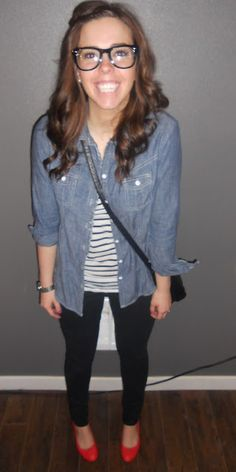 chambray + stripes + red - yay!!! I have everything to do this outfit