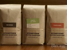 Stumptown Coffee Roaster's founder wanted a way to display a ton of information  about growers, farms, flavors, locations and more. Each one of their  coffees has a unique story and the solution was to make cards,  color-coded for each region, that would tell that story.
