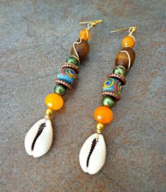 Long Cowrie Shell Earrings Sea Shell Earrings Gypsy