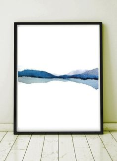 Modern Landscape Print of Abstract Watercolor Painting. Grey, Blue, White, Black. NancyKnightArt.etsy.com IMPORTANT NOTE: to see this print in a