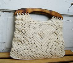 Crochet hand bag - ivory and wood