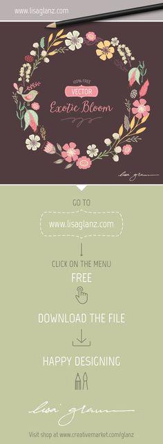 Free vector wreath design. Go to www.lisaglanz.com to download. Enjoy!  #free #graphic #illustration #vector