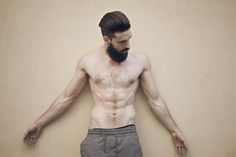 OMG, I love his body so much. Pale white skin, so slim and with beard and dark hair.