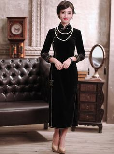 $159.09 Vintage Velvet Cheongsam Chinese Tea Length Winter Qipao Gown with Frog Button