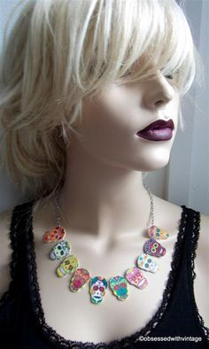 day of dead  necklace mulitple sugar skull by obsessedwithvintage, $29.95