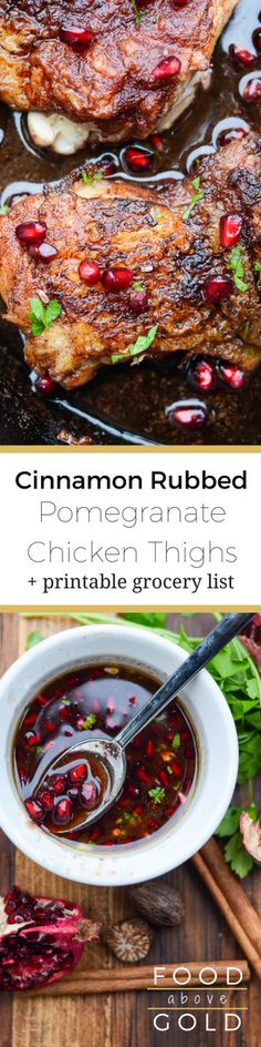 The aphrodisiacs in these Cinnamon Rubbed Pomegranate Chicken Thighs gives you a winning combination for sparking romance! Grilled Chicken Recipes, Best Chicken Recipes, Baked Chicken, Real Food Recipes, Chicken Ideas, Healthy Recipes, Delicious Recipes, Free Recipes, Easy Recipes