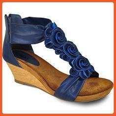 VANGELO Women Wedge Sandal AISHA-2_BLUE Gladiator with Flower Decoration - Sandals for women (*Amazon Partner-Link)