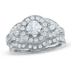 1-1/2 CT. T.W. Diamond Pavé Vintage Bridal Set in 14K White Gold - Zales