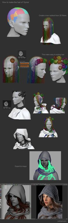Portrait of Sylvia - How to make the hair with fibermesh. By JWillust.