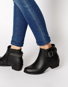 New Look | New Look Dusty Black Ankle Strap Flat Boots at ASOS