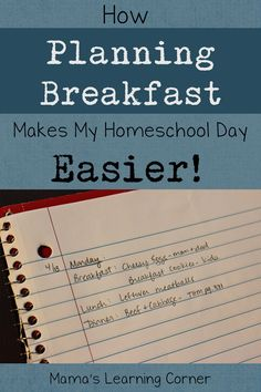 By meal planning breakfast, our homeschool mornings have completely improved! Find some tips and ideas to plan your breakfasts for your family.