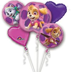 Paw Patrol Pink Jumbo Balloon Bouquet Party Supplies Canada - Open A Party