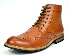 Bruno MARC BERGEN01 Mens Formal Classic Lace Up Leather Lined Perforated Design Tall Ankle Oxford Boots BROWN SIZE 14 ** Check this awesome product by going to the link at the image.