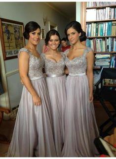2015 Sexy Silver Bridesmaid Dresses Lace Sequins Beads Cap Sleeves V-Neck Chiffon Brides maid Dress BO2673