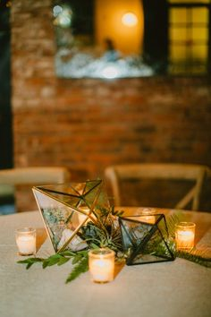 gold and glass geometric centerpieces - photo by Amber Gress Photography Table Centerpieces, Wedding Centerpieces, Centerpiece Ideas, Reception Decorations, Flower Decorations, Wythe Hotel, Wedding Table Centres, Terrarium Wedding, Gold Candle Holders