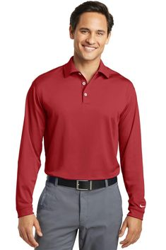 63f37eb7fb9 Nike Golf Long Sleeve Dri-FIT Stretch Tech Polo. 466364 Men s Long Sleeve  Polos