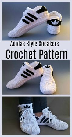 Crochet Adidas Sneakers - Free Pattern & Video Tutorial - Do It Yourself & Craft. - Crochet Adidas Sneakers – Free Pattern & Video Tutorial – Do It Yourself & Craft Projects Source by hausschuhestricken - Crochet Boots, Crochet Slippers, Love Crochet, Crochet Clothes, Crochet Diy, Tutorial Crochet, Crochet Ideas, Crochet Slipper Pattern, Crochet Patterns