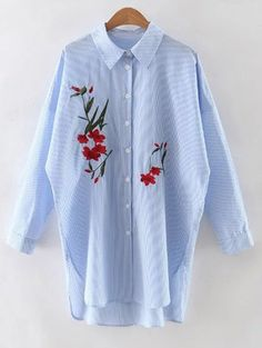 SHARE & Get it FREE | Floral Embroidery Long Sleeve Striped ShirtFor Fashion Lovers only:80,000+ Items • New Arrivals Daily Join Zaful: Get YOUR $50 NOW!