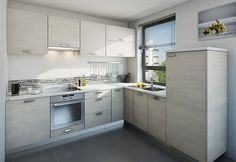 I na menším prostoru můžete mít plně vybavenou a elegantní kuchyňskou linku. Na obrázku je model NordIQ od značky Dolti; Oresi