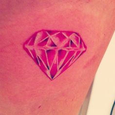 Diamond tattoo pink, i love the diamond but maybe black behind my ear??