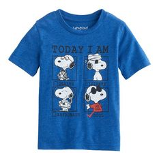 "Toddler Boy Jumping Beans® Snoopy ""Today I Am"" Graphic Short-Sleeve Tee, Size: 4T, Blue Other"