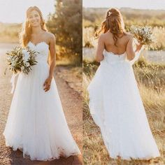 Boho Tulle Beach Wedding Dresses,Sweetheart Strapless Wedding Gowns,White Bridal Dress with Lace,Casual Wedding Dresses,A Line Wedding Dresses