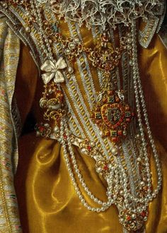 Detail from a portrait of Archduchess Maria Magdalena of Austria. By Frans Pourbus the Younger, c.1603.